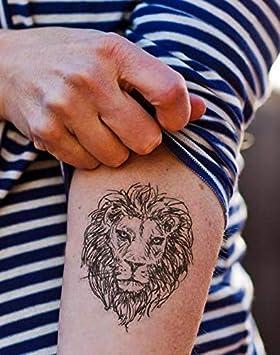 SanerLian Tatuaje de león tatuaje geométrico temporal falso Tatoo ...