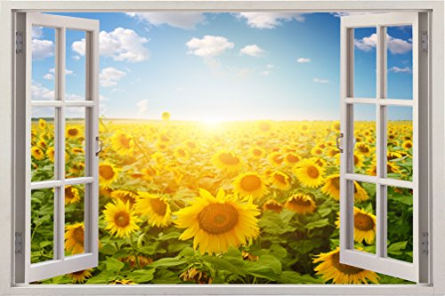 3D Depth Illusion Vinyl Wall Decal Sticker Poster , Window Frame Style Home Decor Art Removable Wall Sticker Mural Pictures, 85 X 115 CM Yellow Sunflower Sun Flowers Field Nautical Nature