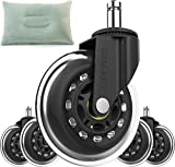 Office Chair Caster Wheel Replacement - Perfect Heavy Duty Furniture Tire Wheels - Safe Rollerblade Casters for Carpet, Hardwood, Tile, Laminate, and Stone - Universal Stem with Back Pillow