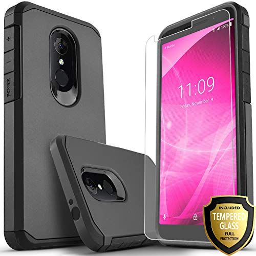 Revvl 2 Case (T-Mobile) Included [Tempered Glass Screen Protector], Star Absorption Drop Protection Dual Layers Impact Advanced Rugged Protective Phone Cover-Black