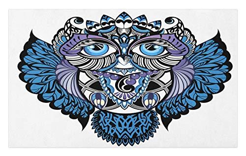 New School Owl Tattoo - Ambesonne Tribal Doormat, Owl Bird Animal