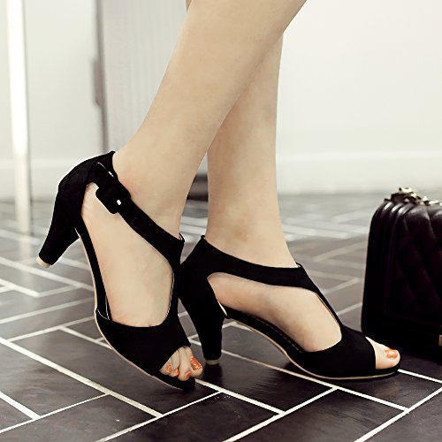 Femmes JOJONUNU Toe Elegant Peep Black SU Sandales dSrSOwn4xq