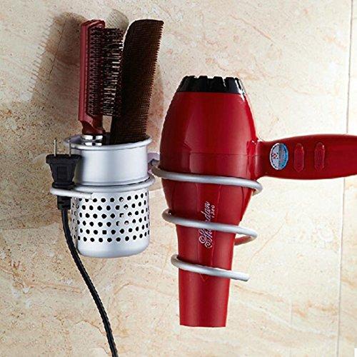 Corner Biz Bath - Wall Mounted Aluminum Hair Dryer Holder Storage Stand Organizer With Basket Free Plug - Mayfair Mall Outlet