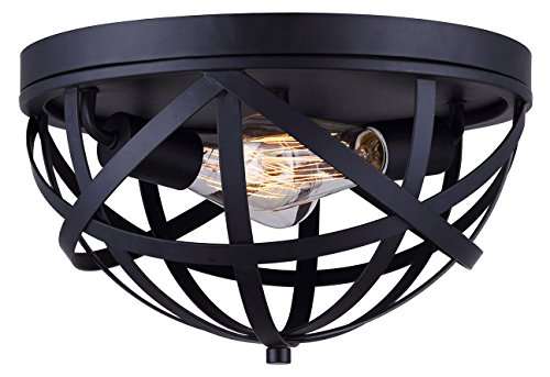CANARM IFM567A13BK-C Gigi 2 Light Flush Mount Black with Metal Cage, Oil Rubbed Bronze