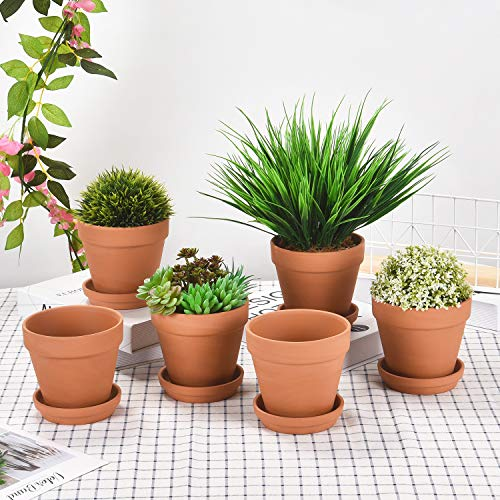 6 Pcs Terracotta Pots with Saucer, 3.9 Inch Clay Flower Pots with Drainage Holes for Cacti Succulent Plants, DIY Clay Planter for Indoor Outdoor Plants Windowsill Desktop]()