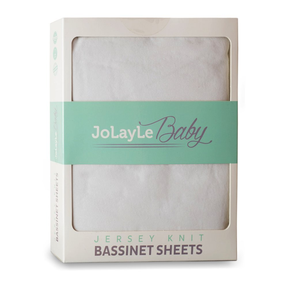Bassinet Sheets 2 Pack - 100% Cotton Jersey Knit Fitted Oval Bassinet Sheet Set - Extra Soft Baby Bedding for Boys and Girls- Pure White Gender Neutral Sheet by JoLayLe Baby