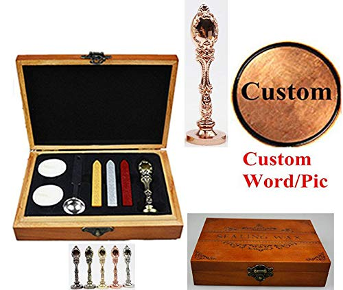 MNYR Vintage Customize Personalized Custom Wax Seal Stamp Melting Spoon Wax Stick Candle Wooden Gift Box Kit Wedding Invitation Embellishment Gift Wrap Custom Logo Design Sealing Wax Seal Stamp Set ()