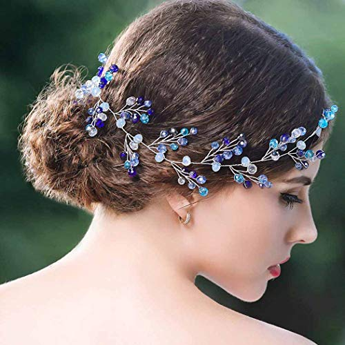 Yean Blue Wedding Headband Crystal Silver Long Hair Vine Baby Wreath Headdress for Bride and Bridesmaid -