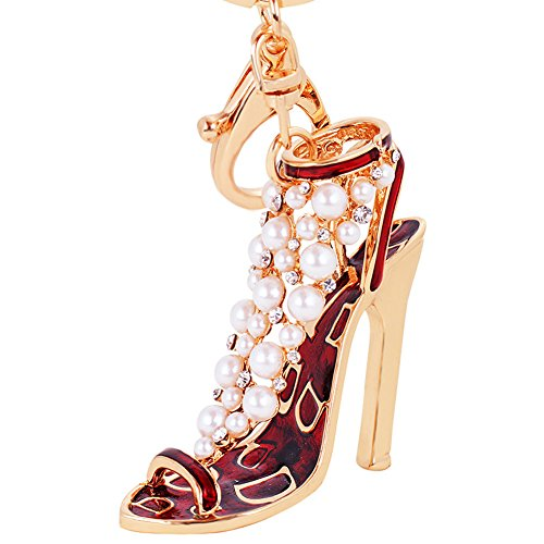 BAOBAO Enamel Crystal Pearl High Heel Shoes Pendant Charm Car Bag Keychain Keyring(Red) from BAOBAO
