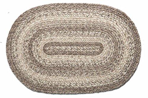 IHF Home Decor Ashwood Oval Jute Braided Area Rug Floor Carpet 20 x 30 Inch