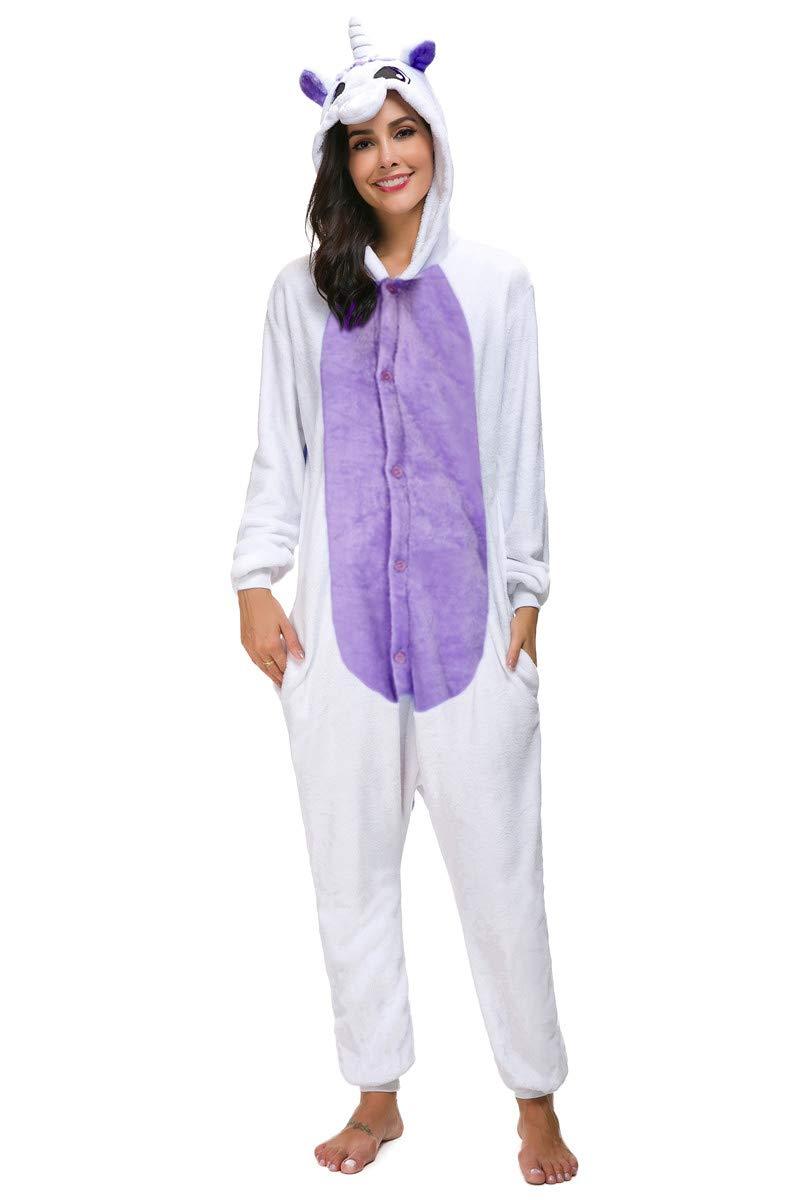 Mescara Pyjama combinaison Kigurumi Pyjama Pyjama Costumes pour adulte Unisexe Polaire Animal Halloween,Violet,S