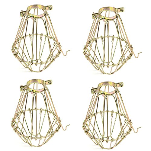 Set of 4 Industrial Vintage Style Black Hanging Pendant Light Fixture Metal Wire Cage , Lamp Guard, Adjustable Cage Openings to Different Styles (Brass) - Brass Cage