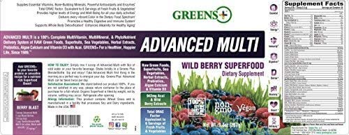 Greens Advanced Multi Wild Berry Superfood Essential Blend of Raw Green Foods Superfruits and Sea Vegetables Powder Vegan Dietary Supplement Non - GMO Soy Dairy Gluten-Free Size 9 4oz