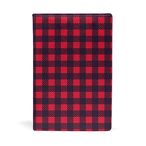 QIAOSHENG Red and Black Plaid PU Leather Book Covers Hardcover Textbooks School Book Protector 8.7x5.8 in Exquisite for Textbook Child Kids
