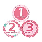 'MuchMore' Baby Monthly Stickers for Girl, Bodysuit Stickers .These Infant month stickers are Great Shower Gift Excellent Baby Photo Props #8002
