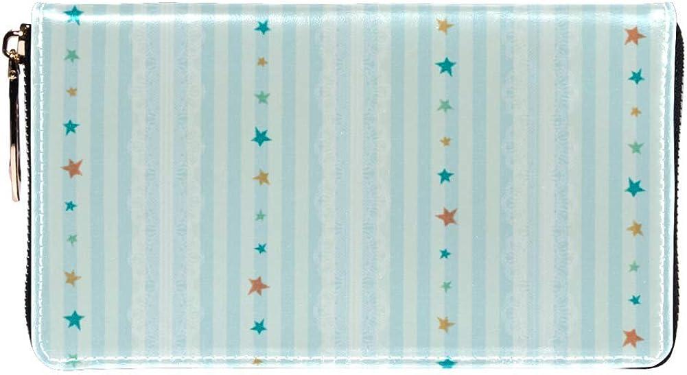 Inhomer Striped Stars Pattern Women Leather Wallet Purse Organizer for Women Girl