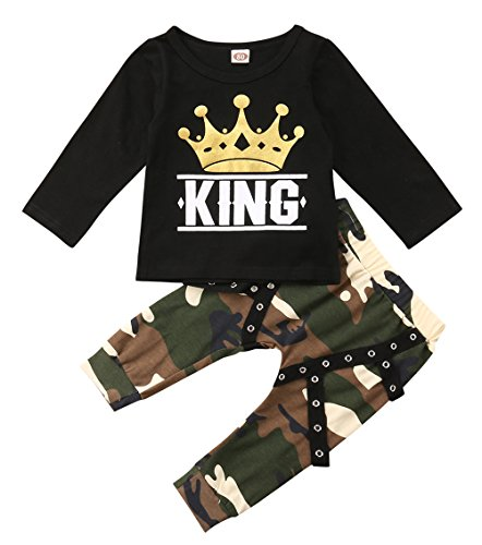 Toddler Baby Boy Clothes King Short Sleeve Black T-Shirt +Camo Pants Outfits Tops Set (18-24 -