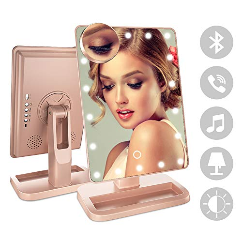 FENCHILIN Bluetooth Mirror 20 LED Lights Makeup Mirror with USB Charger Cable,Wireless Audio Speaker & Removable 10X Magnifier,180 Rotation Vanity Mirror with Lights (Rose -