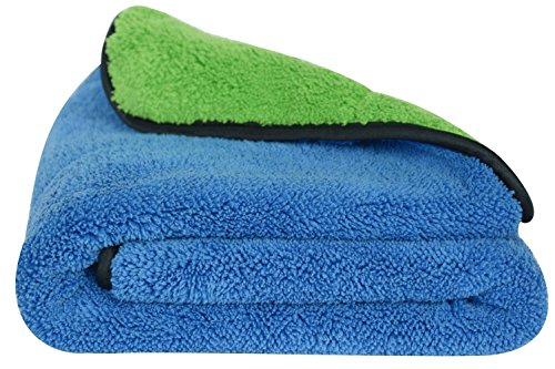 """Microfiber Car Cleaning Towels Ultra Thick Car Wax Buffing Cloths Super Absorbent Drying Auto Detailing Towel (16""""x24"""", Blue/green)"""