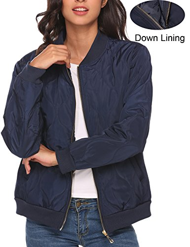 Beyove Women's Quilted Zip Up Raglan Sleeves Bomber Jacket Dark Blue M (Sleeve Bomber Jacket Raglan)