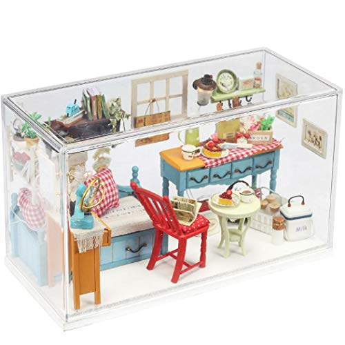 KUGIN Square Inside DIY House Belt Creative LED Light Mini Greenhouse Craft kit Combination Assembly DIY Toy House with Furniture and Accessories]()
