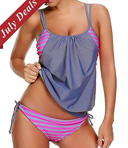 - Joywow Women's Two Piece Stripes Swimsuit Racerback Bikini Set with Panty Sporty Double Up Tankini Swimsuits Lined Up Swimwear (US 12-14 (Tag XXL), B Grey Swimsuit)