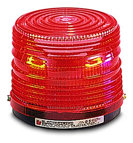Federal Signal 141ST-024R Electra Flash Strobe Warning Light, Single Flash, Surface Mount, 24 VDC, Red