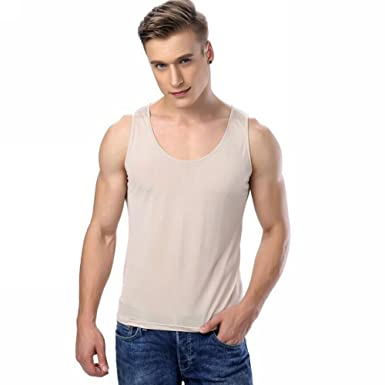 65cb464eb52042 Lonxu Mens 100% Silk Knitted Basic Tank Top T Shirts at Amazon Men's  Clothing store: