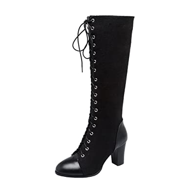84716a434e0 Agodor Womens Knee High Lace Up Chunky Heel Tall Boots with Zip Autumn Winter  Shoes