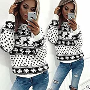 sourban Navidad Fashion Elk impreso Top Casual Pullover Sweater