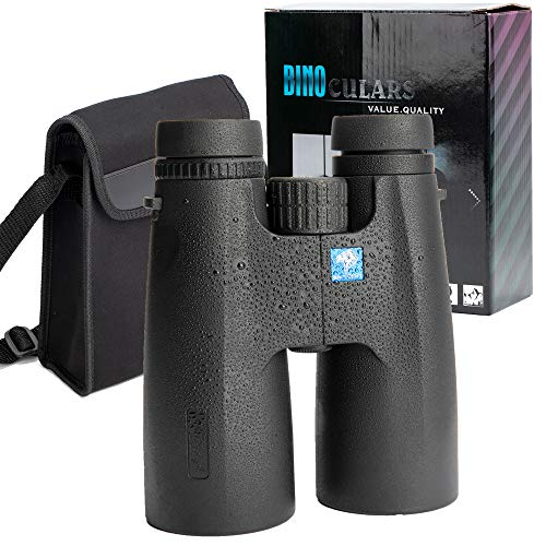 12X50 High Power Military Binoculars for Adults, IPX7 Waterproof HD Roof Prism Binoculars Telescope for Birdwatching Hunting Sport-Large Objective-BAK4 Prism FMC Lens-with Phone Adapter Strap Bag
