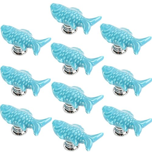 Yahead 10pcs Ceramic Door Knobs Cute Fish Shape Pulls Handle For Door Cabinet Closet Drawer Cupboard Dresser Wardrobe Furniture Kitchen Blue