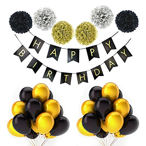 LITAUS Black and Gold Party Decorations, Birthday Banner, Black& Gold Balloons, Pom Poms, Adult birthday Party Supplies for 21 st, 30th, 40th, 50th,60th,70 th,80 th,90 th Birthday Decoration