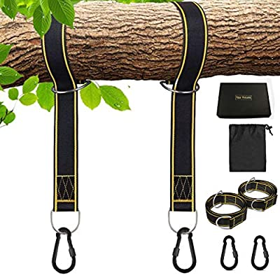 SATKULL Tree Swing Strap Hammocks Strap Hanging Kit-5ft Strap, Holds 2000 lbs-Fast & Easy Way to Hang Any Swing – Outdoor Swing Strap