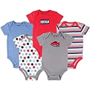 Luvable Friends Cotton Bodysuit, 5 Pack Car Themed Bodysuits, 0-3 Months