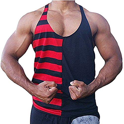 refulgence Men's New Fitness Sweat Breathable Tele-Fitness Vest Cotton Printed Striped Blouse Top -