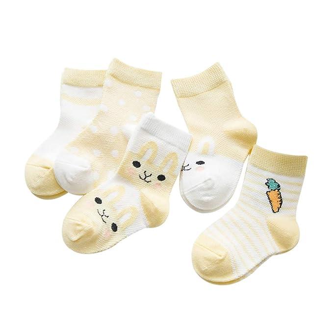 SYEEGCS Calcetines de algodón recién nacido para niños pequeños 5 pares Calcetines de tobillo respirable delgado elástico suave precioso lindo ...