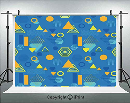 Yellow and Blue Photography Backdrops Memphis Style Abstract Retro Geometric Forms Triangle Circle Hexagon Decorative,Birthday Party Background Customized Microfiber Photo Studio Props,5x3ft,Aqua Mari
