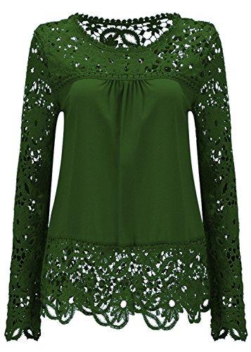 Manches T Haut Bordure Mousseline Fleurs Olive Shirt Blouse Top Ajoure Scallop Chemisier Chemise Shirt Empicements en Dentelle Vert Sexy Longues SvwqSd