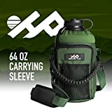 Highland Peak 64 oz Sleeve/Carrier with Paracord Survival Handle by The Ultimate Protective Bottle Holder - Fits Hydro Flask and Similar Bottles (Green)