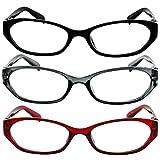 Reading Glasses 4.00 Red Gray Black (3 Pack) 9502