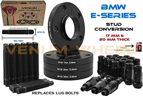 (Complete Set Of Black Staggered Wheel Spacers 17mm + 20 mm Thick & 12x1.5 Black Racing Stud Conversion Kit Fits BMW3 Series E46-323ci, 323i, 325ci, 325i, 325xi, 3328ci, 328i, 330ci, 330xi, M3)