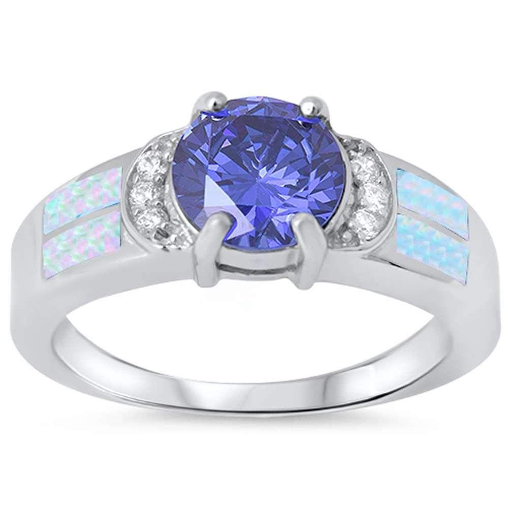 CloseoutWarehouse Simulated Tanzanite Cubic Zirconia with Simulated Opal Sides Ring Sterling Silver