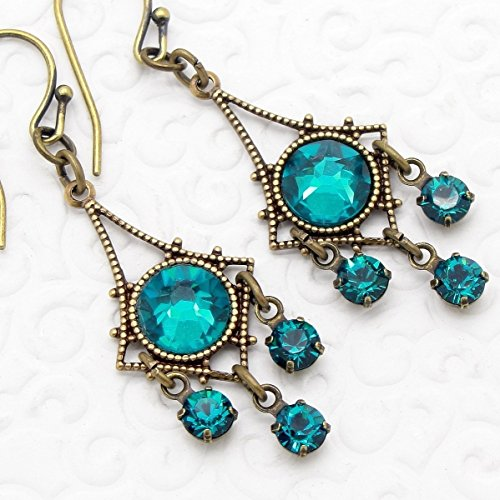 Small Chandelier Earrings in Teal Blue Crystal (Crystal Victorian Blue)