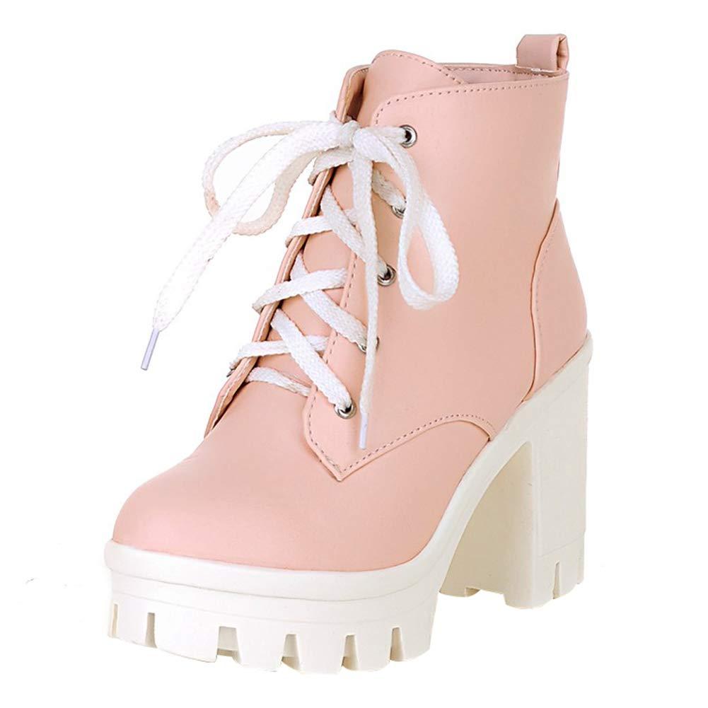 YE Bottes Courte Chaude Bottines Plateforme Femme à Lacets Talon Haut Bloc  Ankle Boots Woman Chaussures Hiver Winter Shoes(Rose,41)  Amazon.fr   Chaussures ... a92bcec3b44e