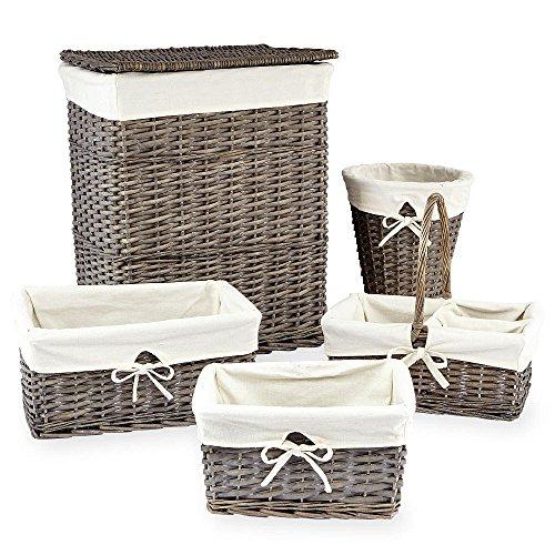 Koala Baby 5 Pack Grey Split Willow Storage Basket Set