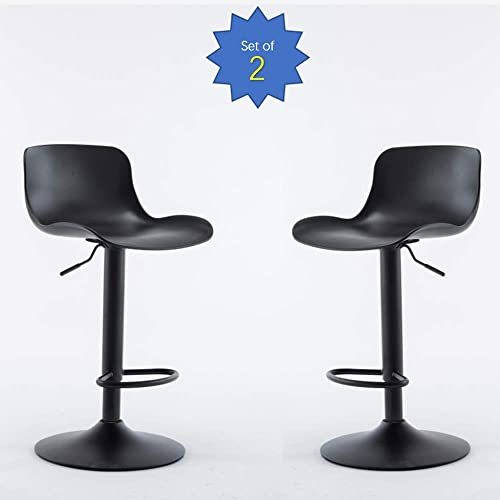 Romatlink Rotating Bar Chair, Adjustable Bar Chair, Modern PP Chair,Armrestless Seat,Ergonomic High Stool,with PP Plastic Seat and Base,for Breakfast Table Bar,Black Set of 2