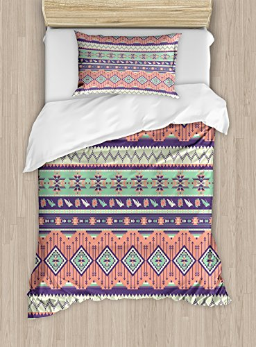 - Lunarable Aztec Duvet Cover Set Twin Size, Delicate Rose Blooms Birds and Geometric Arrow Motifs in Pastel Colors, Decorative 2 Piece Bedding Set with 1 Pillow Sham, Mint Green