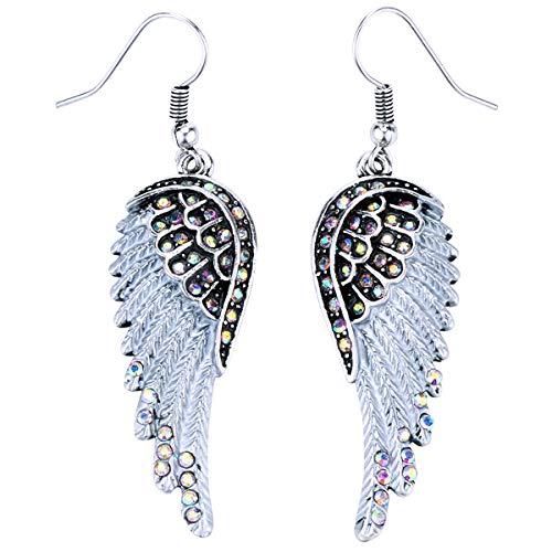(Szxc Jewelry Women's Crystal Angel Wings Dangle Earrings Biker Jewelry)