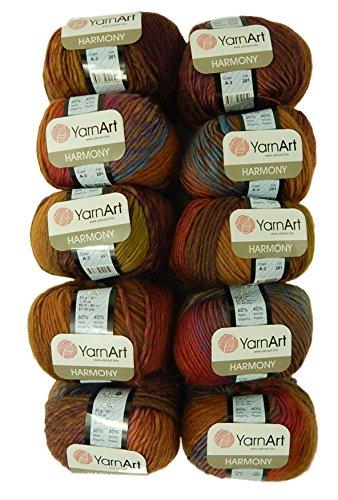 Bulk Buy Yarn Art Harmony 10-Ball Lot Medium #4 Worsted Wool Acrylic Blend (Harmony A3)